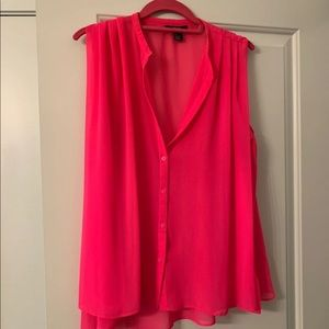 3/$16‼️ Forever 21 Hot Pink Sheer Blouse Size S-XL